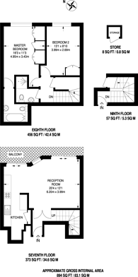 Large floorplan for Campden Hill Towers, Notting Hill, W11
