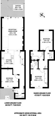 Large floorplan for Harwood Road, Fulham Broadway, SW6