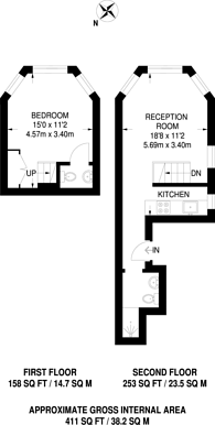 Large floorplan for Bramham, Earls Court, SW5
