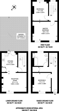 Large floorplan for Evandale Road, Stockwell, SW9