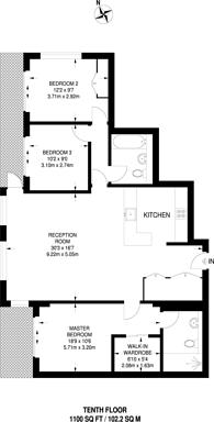 Large floorplan for Merchant Square, Paddington, W2