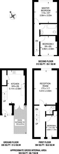 Large floorplan for Monteagle Way, Nunhead, SE15