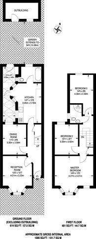 Large floorplan for Stanhope Road, North Finchley, N12