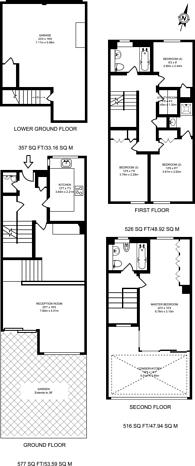 Large floorplan for Walham Rise, Wimbledon Village, SW19