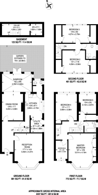 Large floorplan for Salisbury Avenue, Cheam, SM1