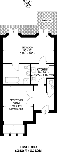 Large floorplan for Clanricarde Gardens, Notting Hill Gate, W2