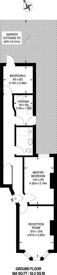Large floorplan for Trevelyan Road, Tooting, SW17