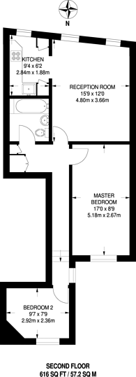 Large floorplan for Clapham Old town, Clapham Common North Side, SW4