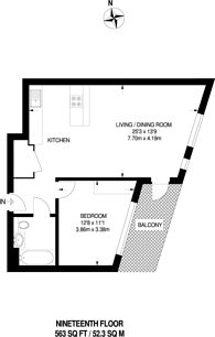 Large floorplan for Manhattan Plaza, Docklands, E14
