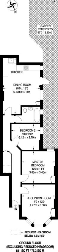 Large floorplan for Glenfield Road, Hyde Farm Estate, SW12