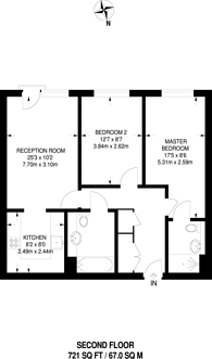 Large floorplan for Milles Square, Brixton, SW9