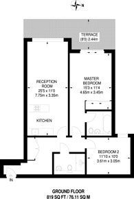 Large floorplan for Woodman Mews, Richmond, TW9