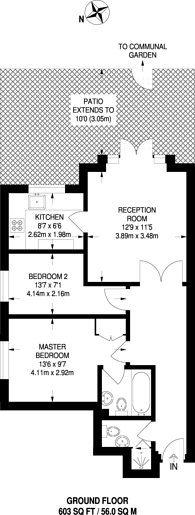 Large floorplan for Crescent Road, Crouch End, N8