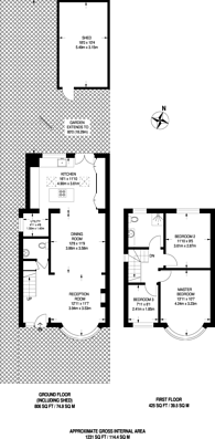 Large floorplan for Sidmouth Avenue, Isleworth, TW7