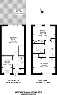 Large floorplan for Southwood Close, Worcester Park, KT4