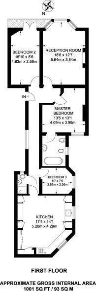 Large floorplan for Elgin Avenue, Maida Vale, W9