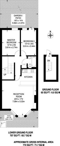 Large floorplan for Campden Grove, Hillgate Village, W8