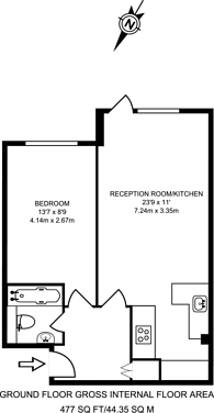 Large floorplan for Maltings Place, Fulham Broadway, SW6