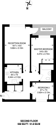 Large floorplan for Worcester Road, Sutton, SM2