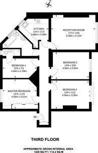 Large floorplan for Drayton Gardens, South Kensington, SW10