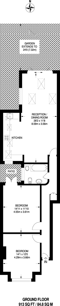 Large floorplan for Cecil Road, Wimbledon, SW19