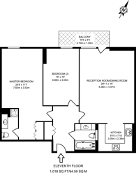 Large floorplan for Discovery Dock Apartments West, Canary Wharf, E14