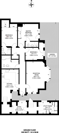 Large floorplan for Cornwall Gardens, South Kensington, SW7