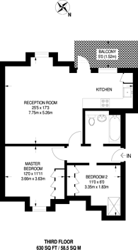 Large floorplan for Tabor Grove, Wimbledon, SW19