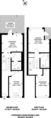 Large floorplan for Cator Street, Peckham, SE15