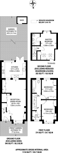 Large floorplan for Lydden Grove, Earlsfield, SW18