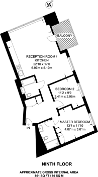 Large floorplan for Grantham House, Canary Wharf, E14