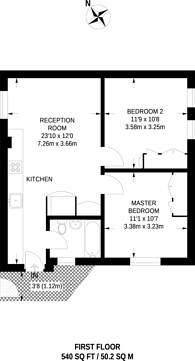 Large floorplan for Odhams Walk, Covent Garden, WC2H