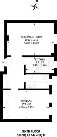 Large floorplan for Edgware Road, Bayswater, W2