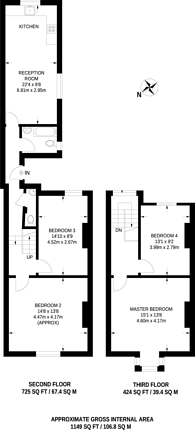 Large floorplan for Upper Tooting Road, Tooting, SW17