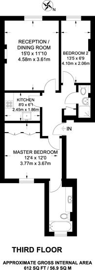 Large floorplan for St George's Square, Pimlico, SW1V
