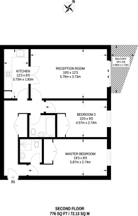 Large floorplan for Riverside West, Wandsworth Town, SW18