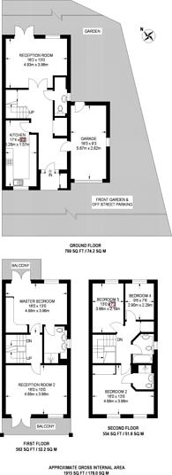 Large floorplan for Penners Gardens, Surbiton, KT6