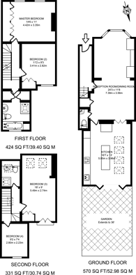 Large floorplan for Franche Court Road, Earlsfield, SW17