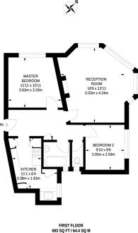 Large floorplan for St Margarets Road, East Twickenham, TW1