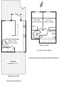 Large floorplan for Seaforth Crescent, Islington, N5