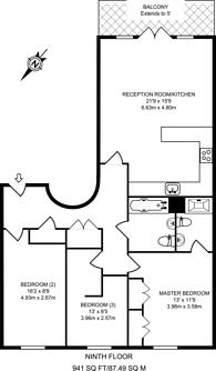 Large floorplan for Eden Grove, Islington, N7
