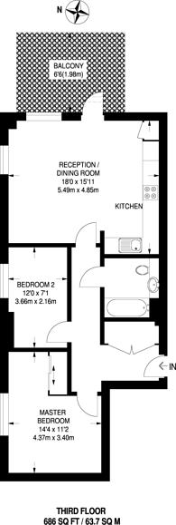 Large floorplan for Lakeside Drive, Park Royal, NW10