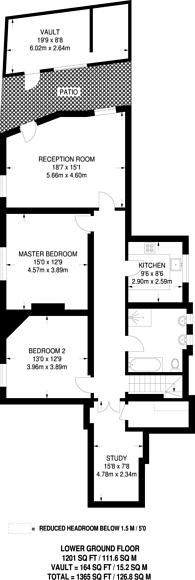 Large floorplan for Langham Mansions, Earls Court, SW5