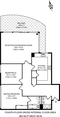 Large floorplan for Boardwalk Place, Canary Wharf, E14