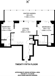 Large floorplan for Dollar Bay, Canary Wharf, E14