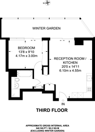 Large floorplan for Dollar Bay, Canary Wharf, E14