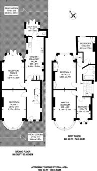 Large floorplan for Fox Lane, Palmers Green, N13, Palmers Green, N13