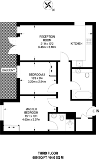 Large floorplan for Florian Court, Canning Town, E16