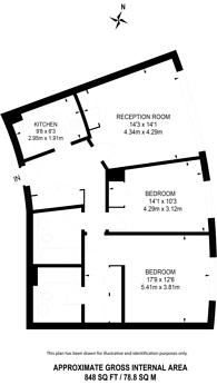 Large floorplan for Albert Embankment, Waterloo, SE1