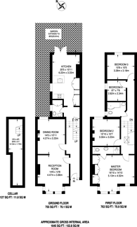 Large floorplan for Beauval Road, Dulwich Village, SE22